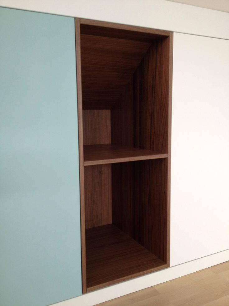 Custom fit cabinets with Walnut accents  Close-Up