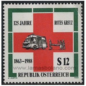 SELLOS DE AUSTRIA 1988 - CRUZ ROJA 125 ANIVERSARIO - 1 VALOR - CORREO