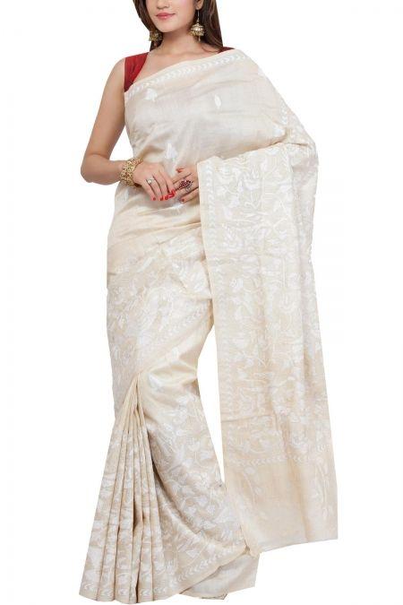 Cream & White Kantha Tussar Silk Saree
