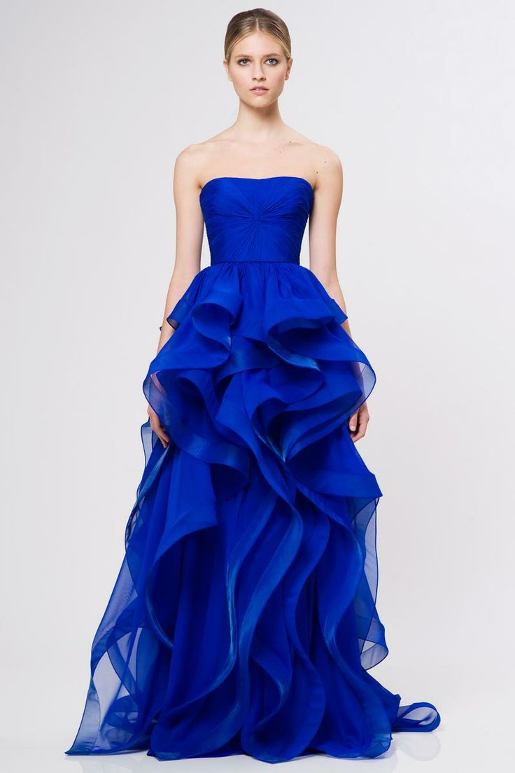 blue gown - Reem Acra Resort 2013