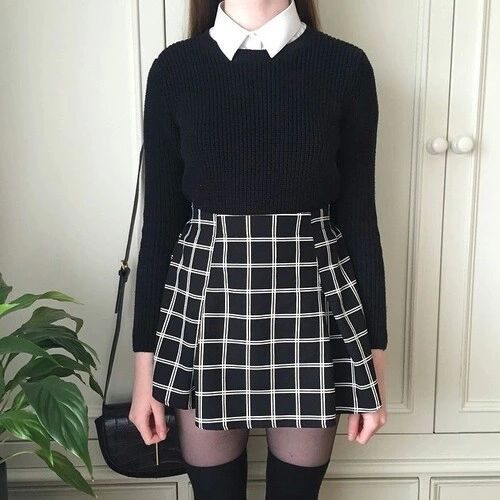white collared shirt, black sweater, black & white grid skirt, knee high tights
