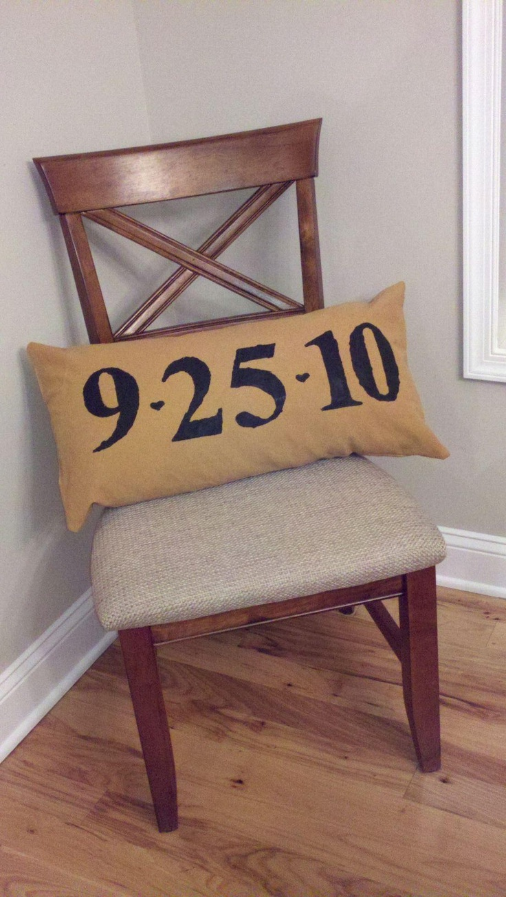 DYI: Wedding Anniversary Pillow. This would be a really cute gift for my grandparent's 50th Anniversary this summer.