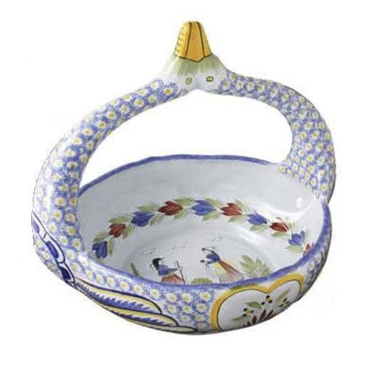 Quimper Faience Mistral Blue Swan basket