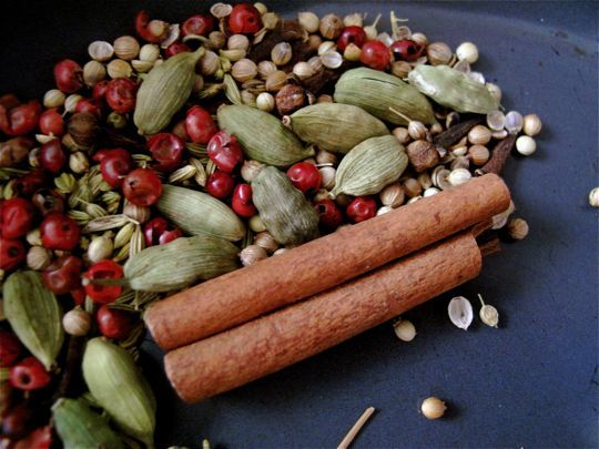 The Best Chai Tea Mix!  Chai Tea Mix Recipe  Makes about 12-16 teabags    12 green cardamom pods  1/2 teaspoon whole red peppercorns (optional)  1/2 teaspoon whole black peppercorns  1 tablespoon fennel seeds  1/2 teaspoon coriander seeds  1/2 teaspoon whole cloves  1 4-inch cinnamon stick  3 tablespoons chopped candied ginger  1/2 cup loose black tea    Preheat oven to 350°