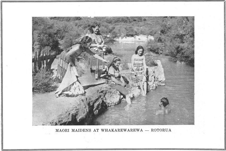 Photograph depicting 'Maori Maidens swimming' somewhere in Rotorua c1950s, photographer unknown. This photo appears in a booklet published c1950 as a Business guide to Rotorua.  The original copy, owned by Rotorua District Library, is shelved in the Don Stafford Room glass case.