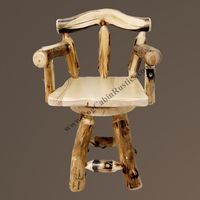 Grizzly Aspen Log Bar Stool with Arms
