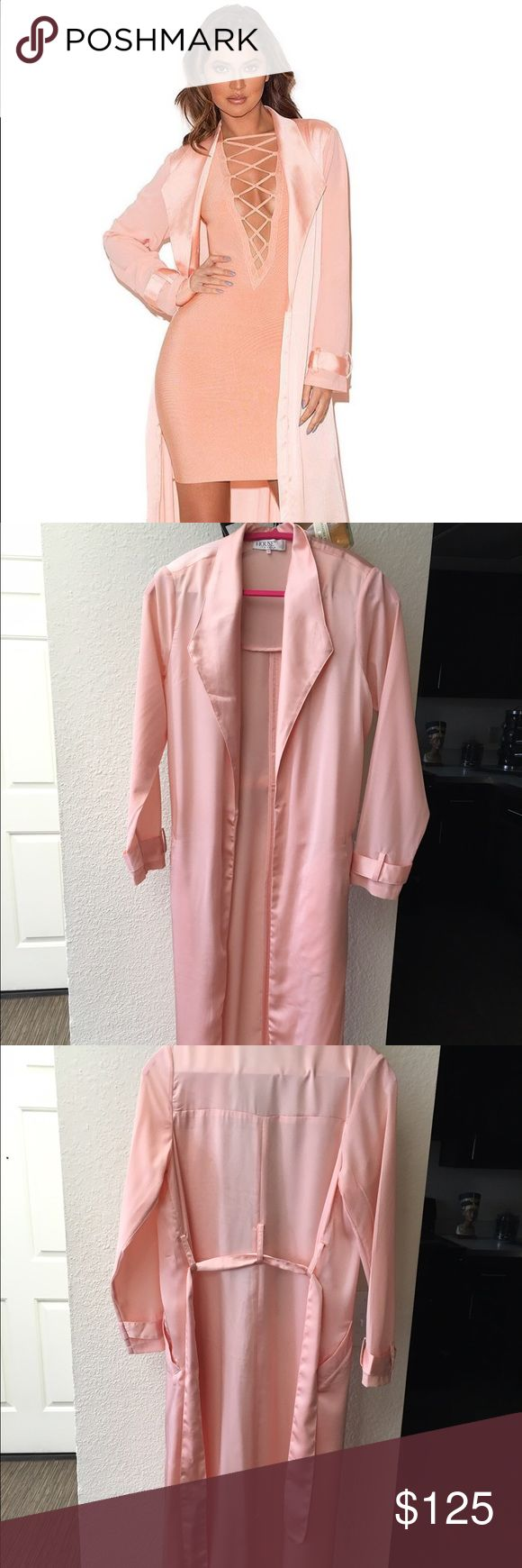 House Of CB Coryn Rose Gold Silky Duster Coat House Of Celebrity Boutique *authentic* Coryn Rose Gold Silky Duster Coat - size medium / never worn / brand new House of CB Jackets & Coats Trench Coats