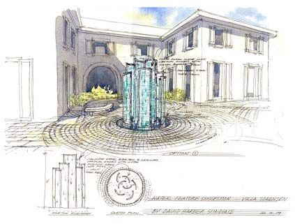 Tall bespoke water feature to give focus to a courtyard
