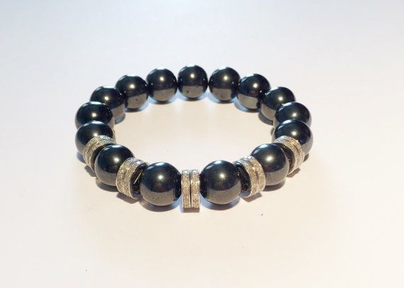 Beaded DIAMOND and HEMATITE bracelet, handmade silver and genuine diamond bracelet, gift for man, for woman, silver bracelet with diamond