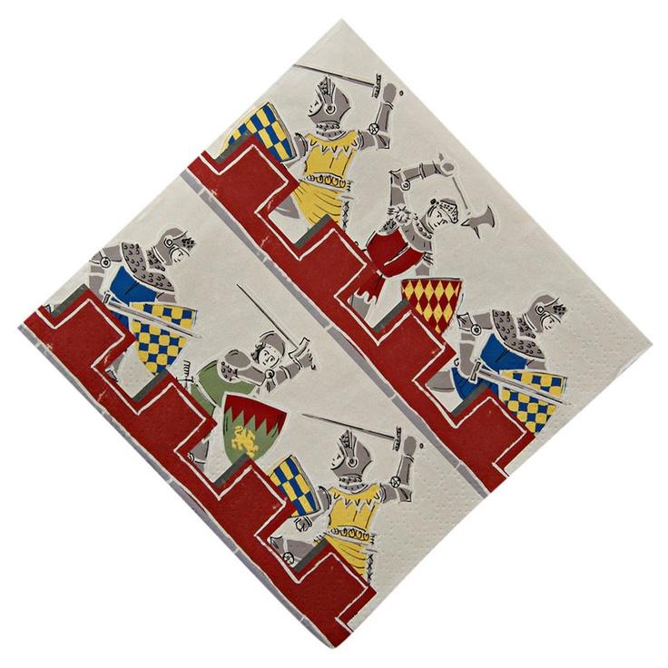 Artículos de Fiesta Infantil : SERVILETA DISEÑO MEDIEVAL. Estas servilletas impresas con valientes guerreros son el complemento ideal para fiestas temáticas con motivos de caballeros, principes, dragones , y van geniales con el resto de la colección Meri - Meri.