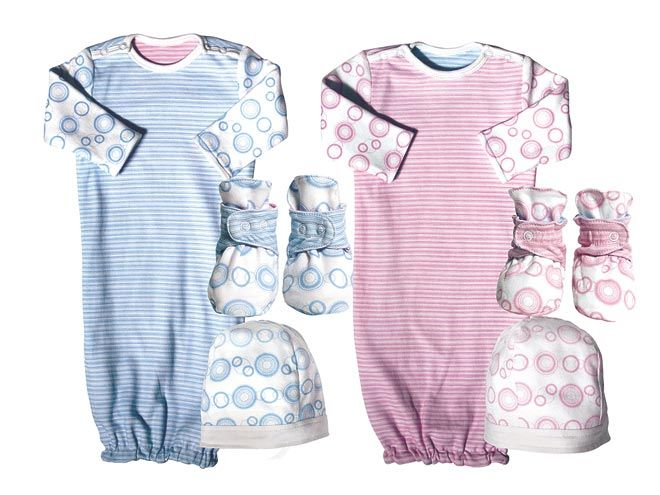 Twotara Circle Gown. Blue or pink? Avoid the guessing game with Twotara's reversible baby clothes, which feature the same adorable fabric – in pink and blue! – inside and out. Boy or girl, they'll look equally precious (and color-coordinated!) in the cozy collection of rompers, footies, gowns and hats.