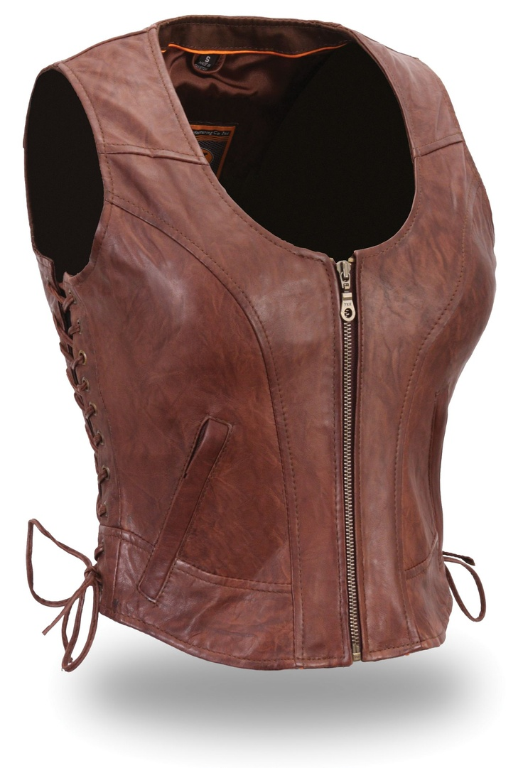 Womens Short Length Brown Leather Motorcycle Vest by First Mfg.  www.mymotorcycleclothing.com - The 39 Best Images About Womens Motorcycle Vests On Pinterest
