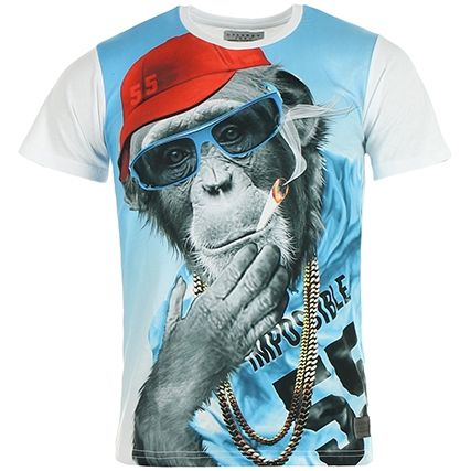 Tee Shirt Celebry Tees Monkey Chain Blanc - LaBoutiqueOfficielle.com