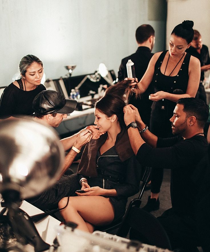 Bella Hadid at New York Fashion Week backstage Anna Sui