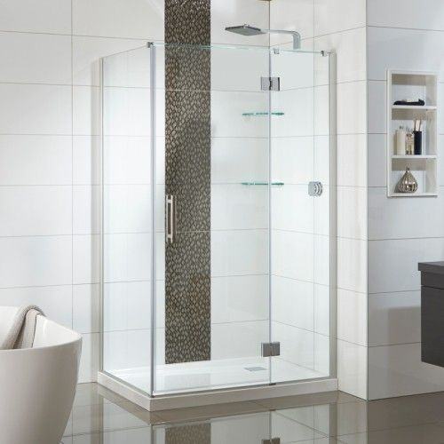 Allora 1200x900 2 Wall Rectangle Tiled Wall with Glass Shelves