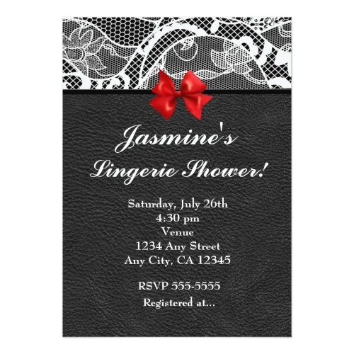 Black Leather & White Lace Lingerie Invitation