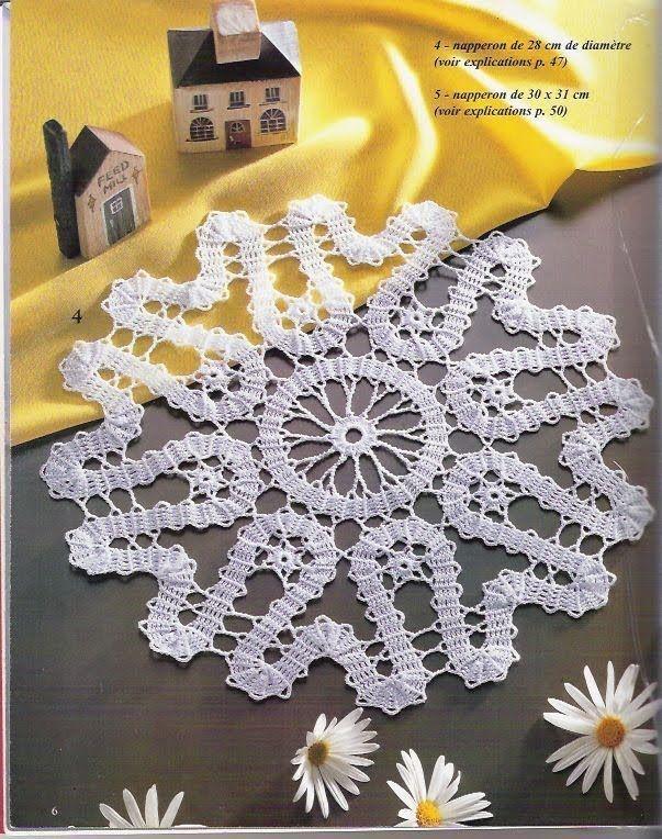Solo esquemas y diseños de crochet: Mantelito redondo en encaje de brujas