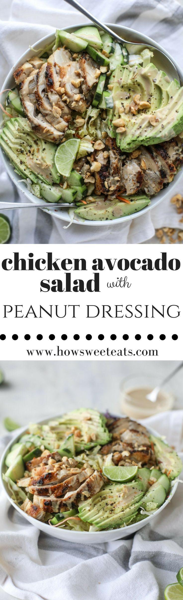 Chicken Avocado Salad with Peanut Dressing I howsweeteats.com