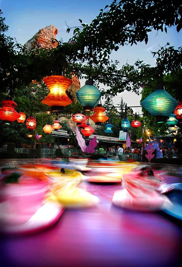 Disneyland's Teacups. Long exposure photography, whimsical and surreal depiction of the happiest place on earth!