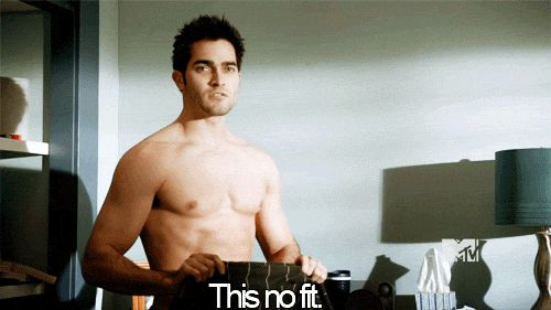 "Derek Hale can't ever swap clothes with his besties, because his body is too ruggedly handsome. :(  (gif) | Cheer Up, At Least You're Not Derek Hale From ""Teen Wolf"""