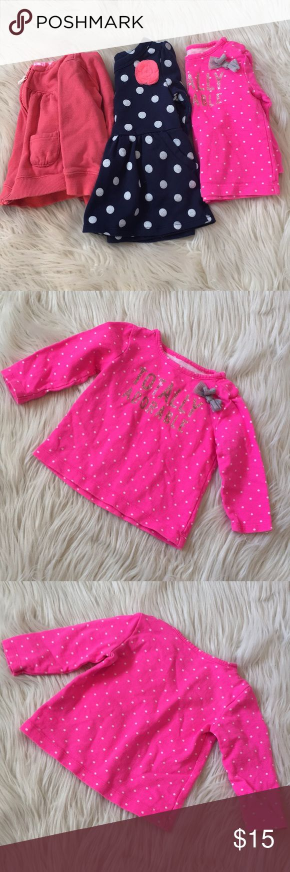 3 Pack! Carter's Sweaters - 12m All from Carters - Great Used Condition!  The Hoodie has the Most Use, the Pullovers No More Than 3x Each.  Blue Polka Dot is Peplum Style with Pockets.  No Stains or Discoloration. Carter's Shirts & Tops Sweatshirts & Hoodies