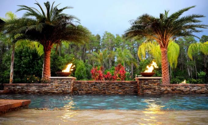 Natural Stacked Stone Veneer on a Pool