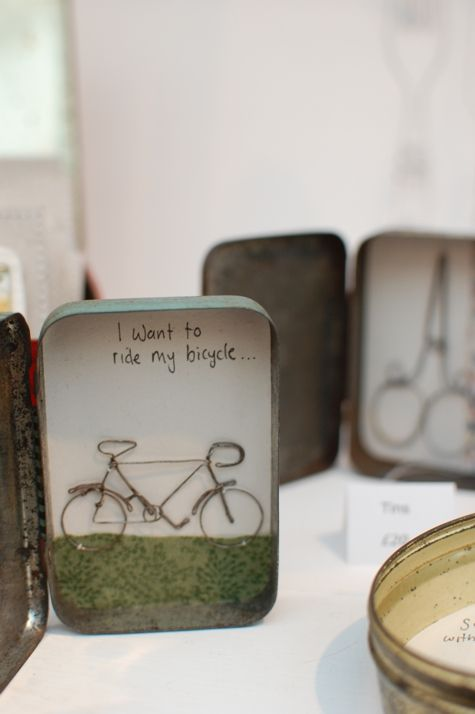 Louise Wilson - here she has created a mini scene in a tin then added a wire bike to it. she has used line and shape to create a clear bike. she has also used texture to create the grass and the 3d-ness of the bike. i would like to do something in a tin in my own work as i like how isolated it is.