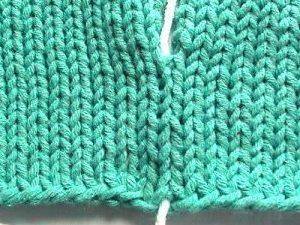 Invisible vertical seaming on stockinette stitch