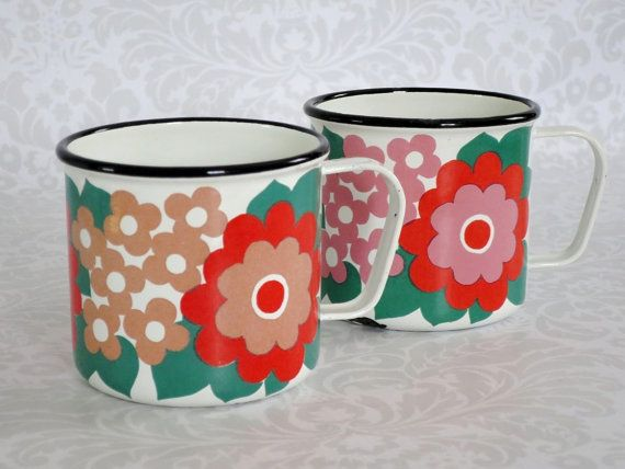 Finel Enamel Mugs Elisa Daisy Pattern    Mid by SwirlingOrange11