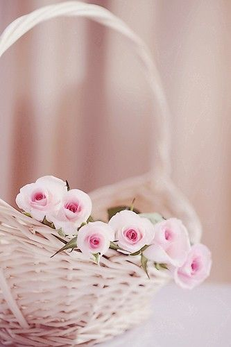 very simple decoration... roses carefully placed in a basket...