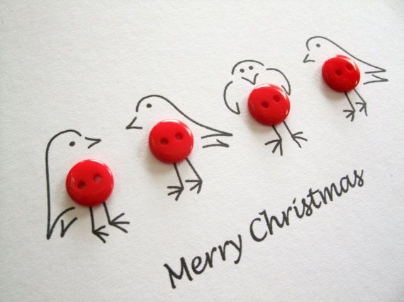 Christmas Robins Card - Cute robins with buttons - Paper Handmade Greeting Card - Holiday Card  These cute little robins with red button tummies make an adorable Christmas card! The robins have been hand drawn in fine black pen with the Merry Christmas message underneath. This card is also available in a set of 4 and 12 cards.  All my cards can be personalised or a message added on the front! Just add the item Personalise your card in my shop to your basket and let me know what you would…