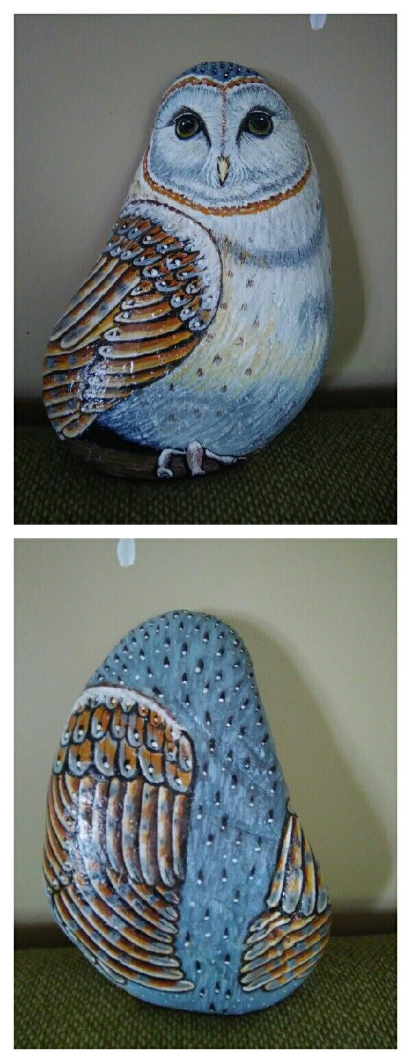 """This is 12,5"""" tall owl on rock. The rock wasn't perfect smooth, but this just make him more unique!  (by Stella Gemella)"""