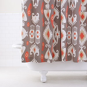 Grey/Coral Ikat Shower Curtain | World Market