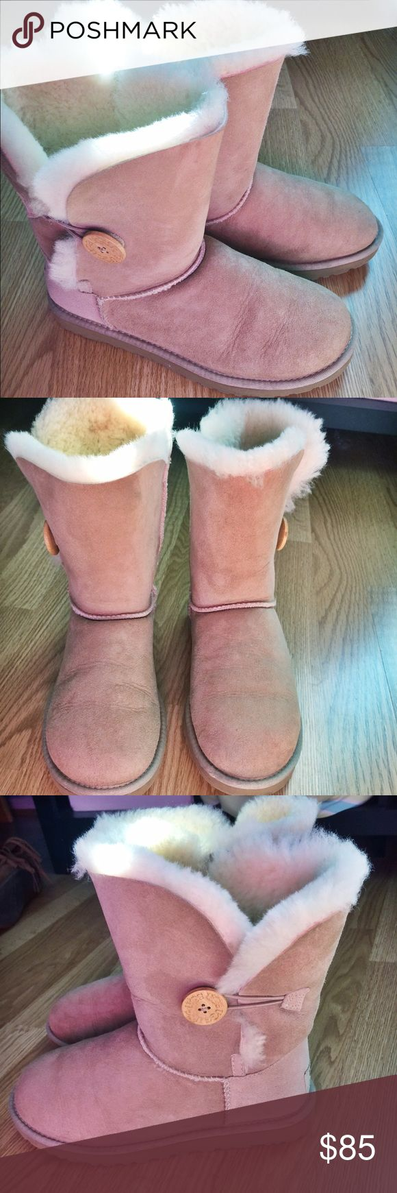 Bailey Button Uggs Light tan, sandy, bailey button uggs. Super gently used. Only worn a few times in very good condition, like brand new. Authentic Uggs brand UGG Shoes