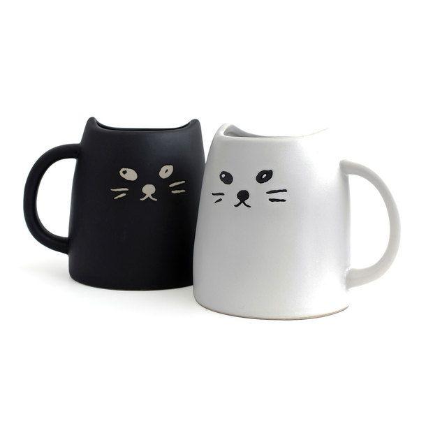Cat Mug Black & White Set Of 2