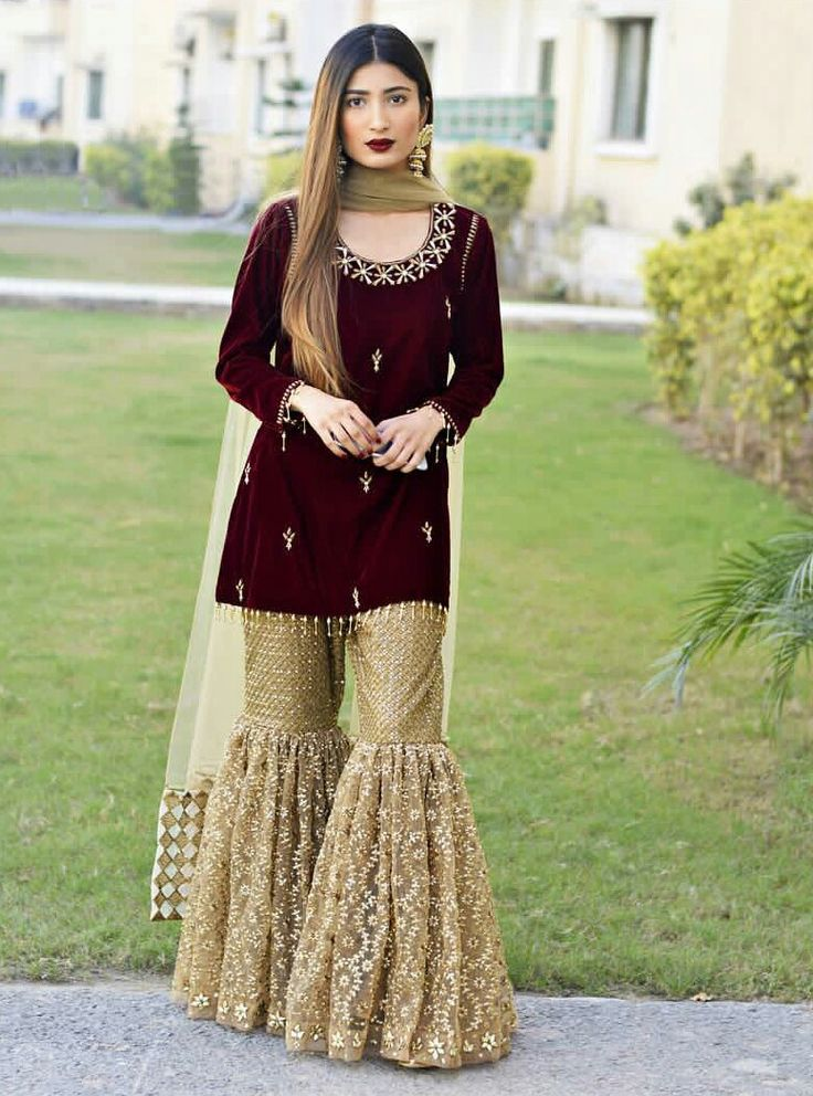 Gold and velvet gharara