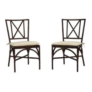 Home Styles Bimini Jim Dark Mocha Aluminum Patio Dining Chair with Cream Cushion (2-Pack) 5566-802 at The Home Depot - Mobile