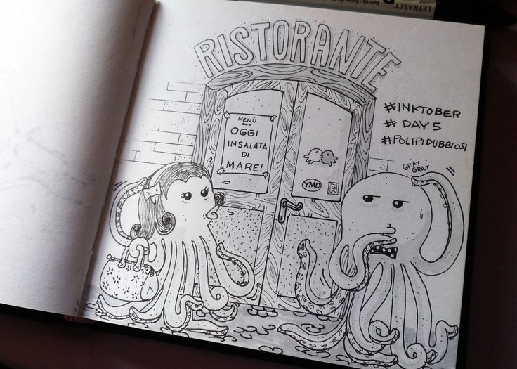 day 5 tema: polpi dubbiosi #inktober #inktober2015 #day5 #illustration #illustrazione #ink #massoneriacreativa #octopus #polpo #sketchbook