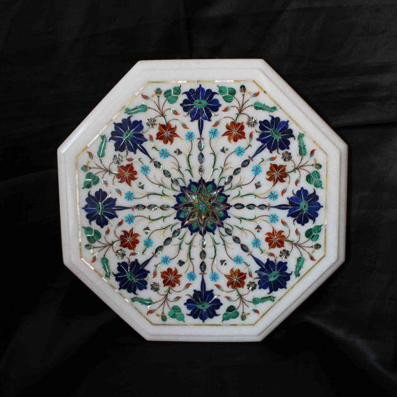 This is ART - Coffee Table top white Marble Inlaid Marquetry by MARBLEINLAY