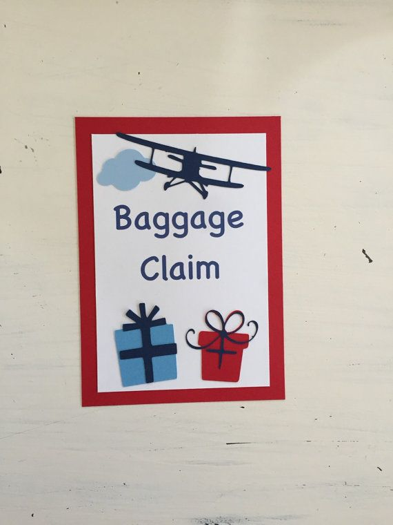 Baggage Claim Sign Vintage Airplane Party by HandmadeByVee on Etsy