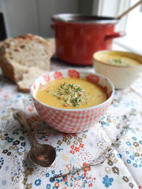 "Creamy potato carrot leak soup (without the cream). ""Amazing, soul hugging, nourishing soup that is extremely easy to make"" Sounds like I need to try this!"