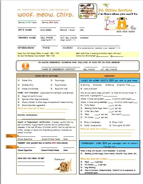 Pet Sitting and Dog Walking Form customizable plus by RozsStuff