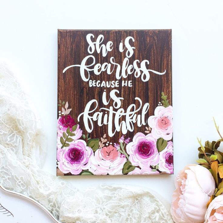 She is Fearless because He is Faithful Floral Canvas