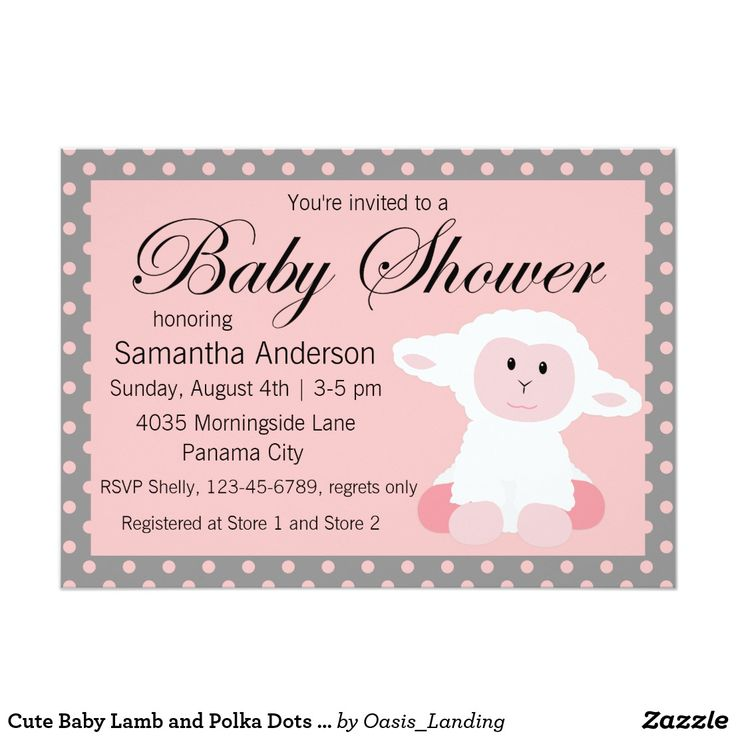 Cute Baby Lamb and Polka Dots Baby Shower Card - A cute baby shower invitation to welcome a baby girl, sold at Oasis_Landing on Zazzle.