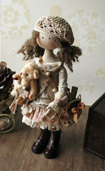 Collectible dolls handmade.  Fair Masters - handmade Idel.  Collectible doll in beige and coffee tones.  Boho style.  Handmade.