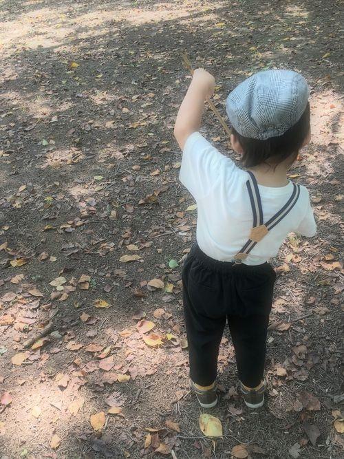 公園コーデ♥️♥️ あっというまに、 このハンチング帽ちっちゃい🤦♀️ マスタード色の靴下お気に