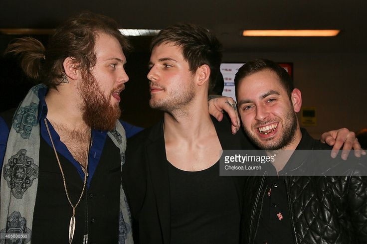 Vocalists Danny Worsnop of We Are Harlot, Devin Oliver of I See Stars and Tyler Carter of Issues arrive at the 'What Now' premiere at Laemmle Music Hall on March 10, 2015 in Beverly Hills, California.