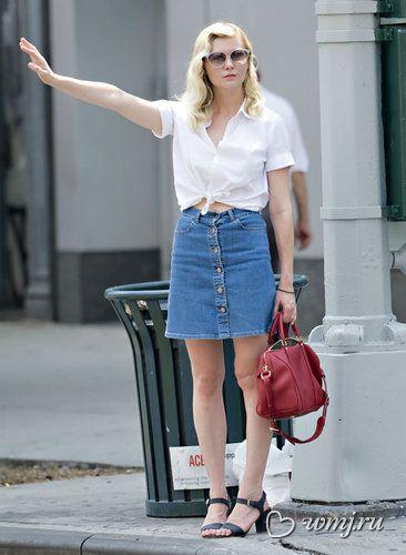 Kirsten Dunst in denim skirt | A very stilysh girl | Pinterest ...