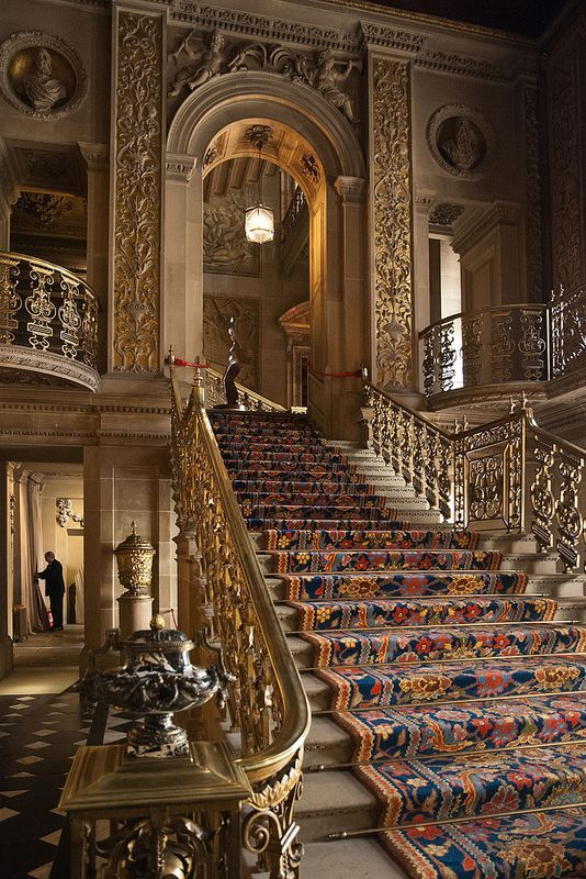 Staircase in the very grand entrance hall of Chatsworth House
