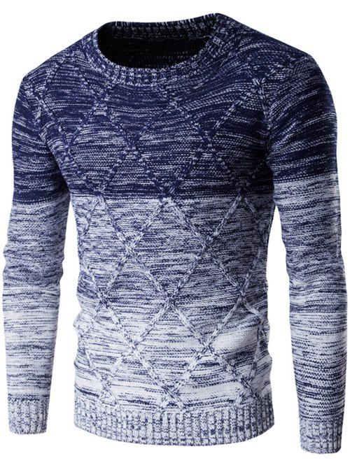 Kink Design Knit Blends Ombre Round Neck Long Sleeve Sweater